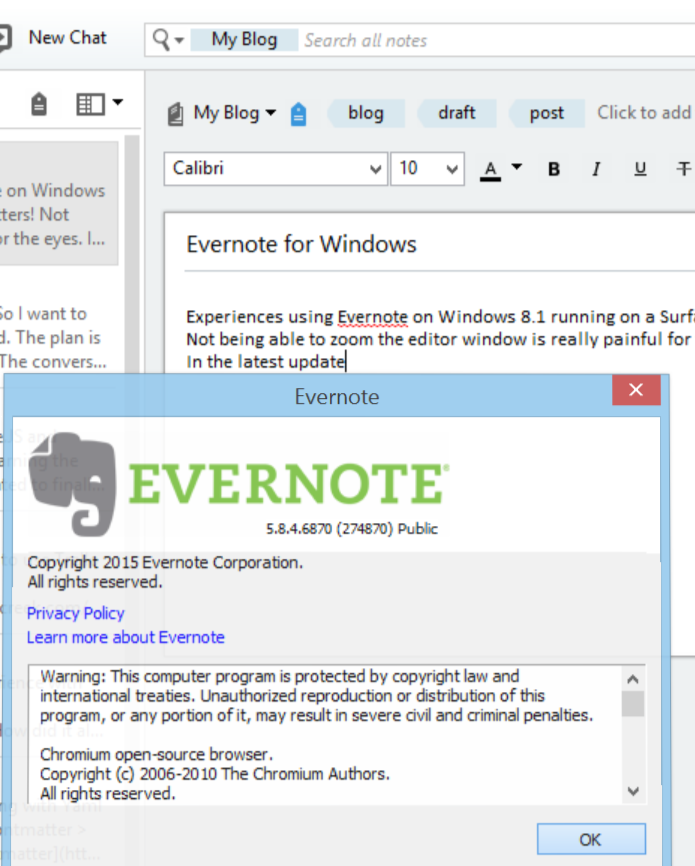 Evernote For Windows About screen shows current version