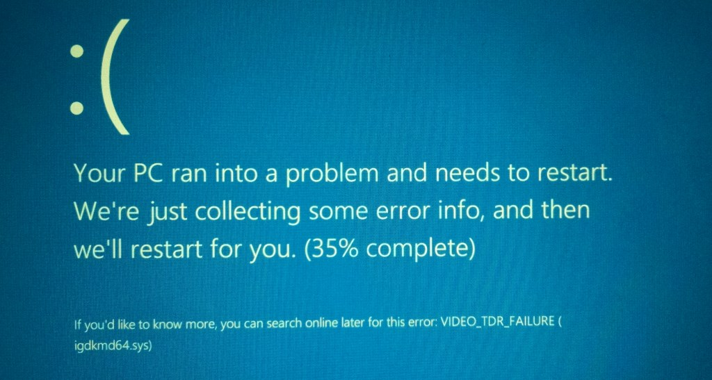 Screenshot: Windows 10 BSOD VIDEO_TDR_FAILURE
